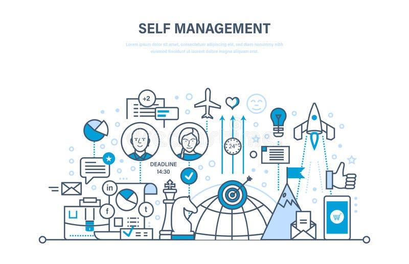 Selbstmanagementkonzept Steuerung, persönliches Wachstum, emotionale Intelligenz, Führungsfähigkeiten lizenzfreie abbildung