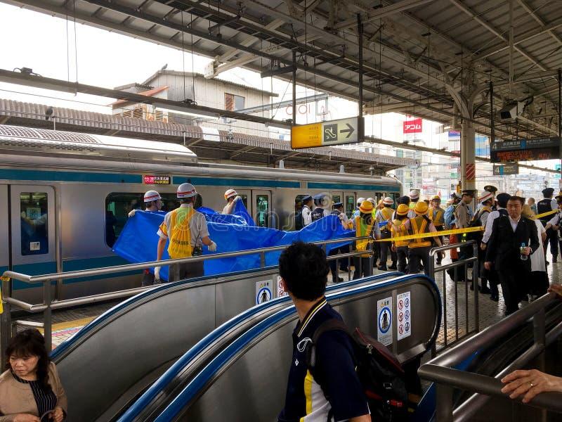 Selbstmord auf Zug stockfotos