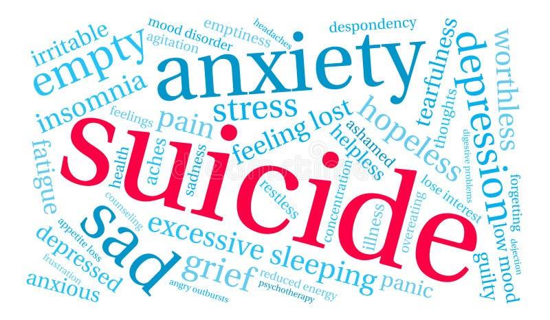 Selbstmord-Wort-Wolke vektor abbildung
