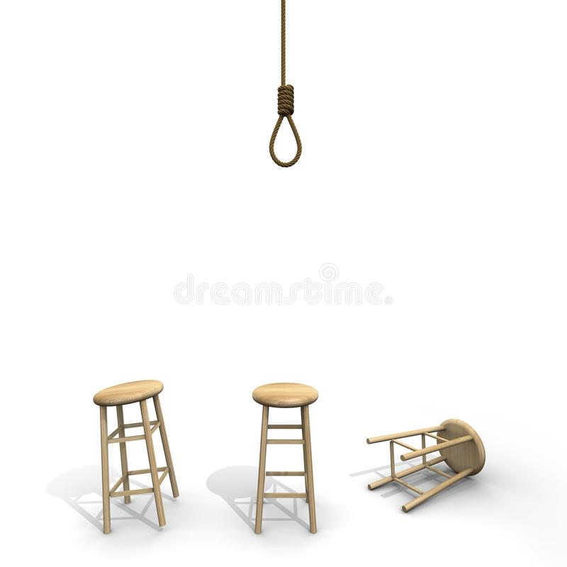 Selbstmordknoten mit Schemel stock abbildung