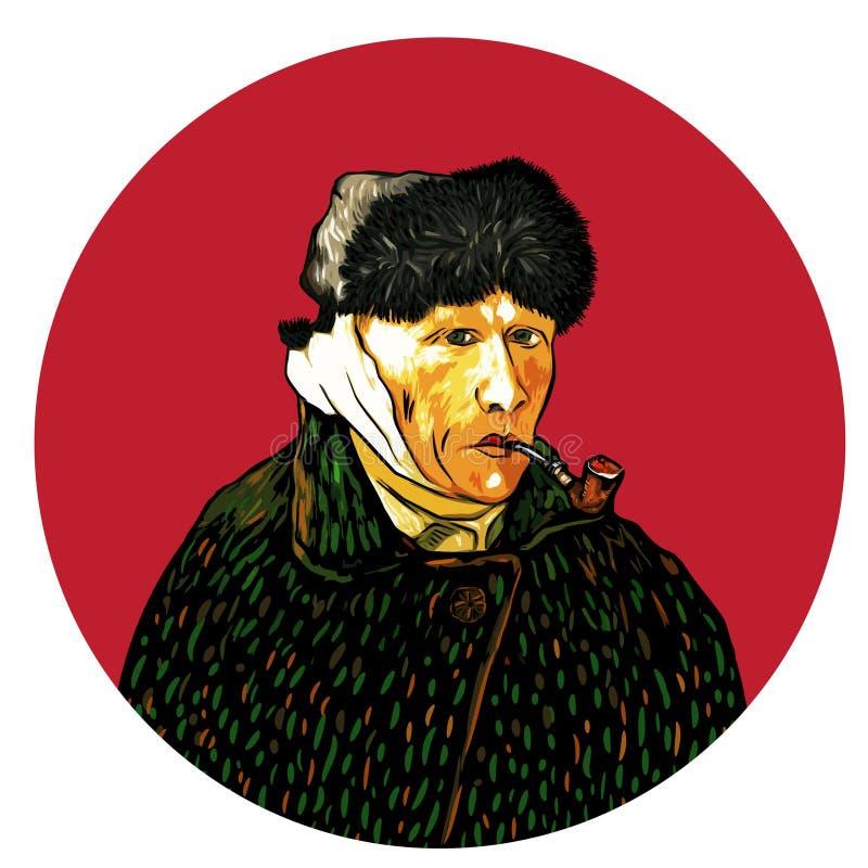 Selbstporträt mit dem verbundenem Ohr und Rohr, Vincent van Gogh, 1889 lizenzfreie abbildung
