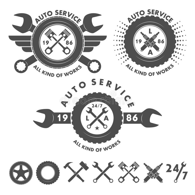Selbstservice beschriftet Embleme und Logoelemente lizenzfreie abbildung