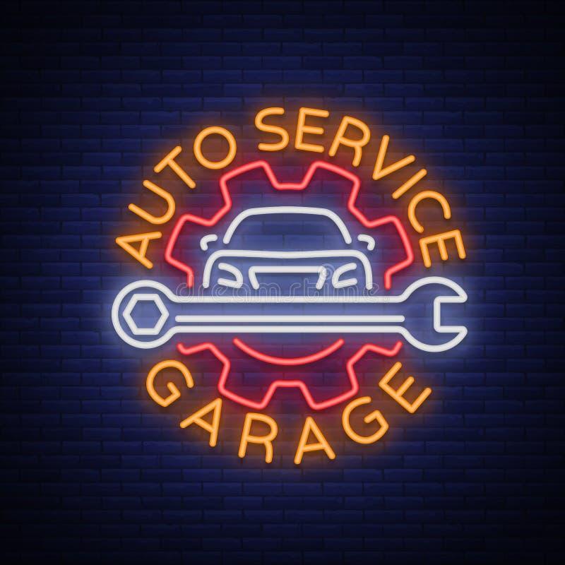 Selbstservice-Reparaturlogo in der Neonart Leuchtreklame, ein Symbol auf dem Thema der Reparatur von Autos Emblem, helle Fahne, g vektor abbildung