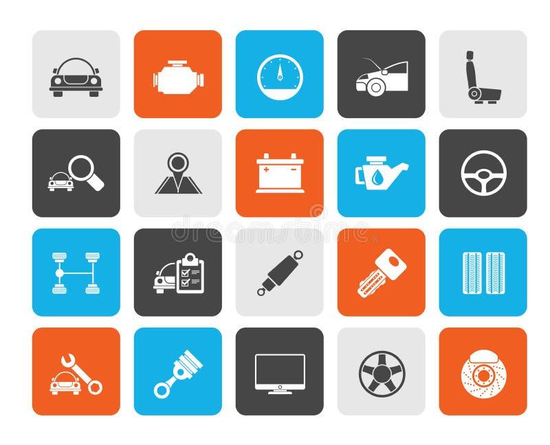 Selbstservice- und Autoteilikonen lizenzfreie abbildung