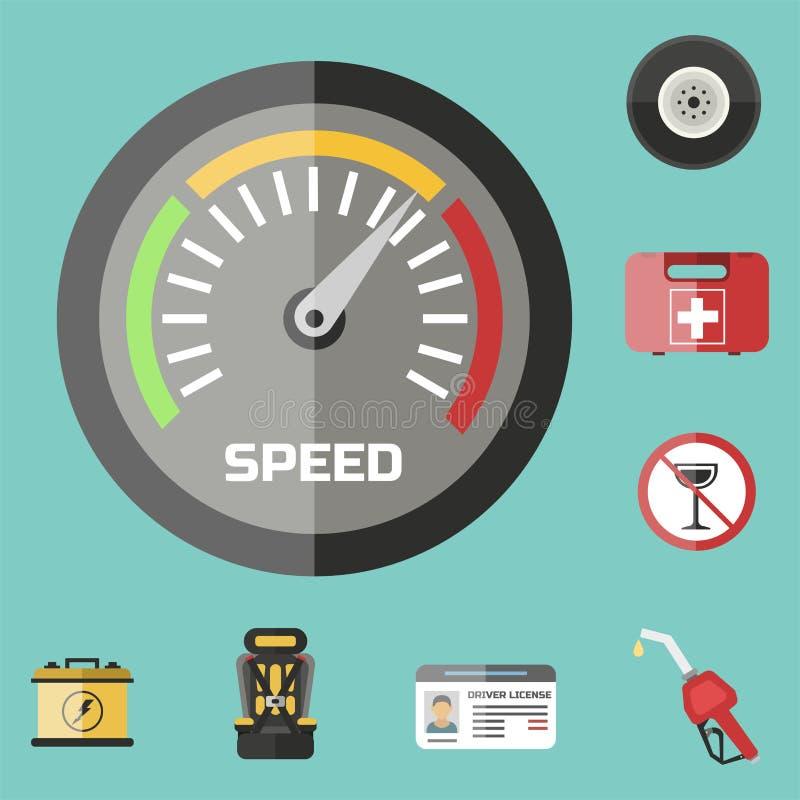 Selbsttransportkraftfahrerikonensymbolfahrzeug-Dienstleister- für Betriebsausrüstungenautofahrer bearbeitet Vektorillustration lizenzfreie abbildung