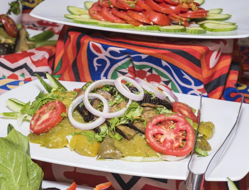 Selction van saladevoedsel bij een restaurantbuffet royalty-vrije stock afbeeldingen