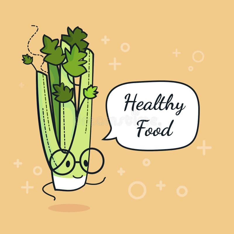 Selderie met toespraakbel Ballonsticker Koele groente Vector illustratie Karakter van selderie het slimme nerd Gezond voedsel con vector illustratie