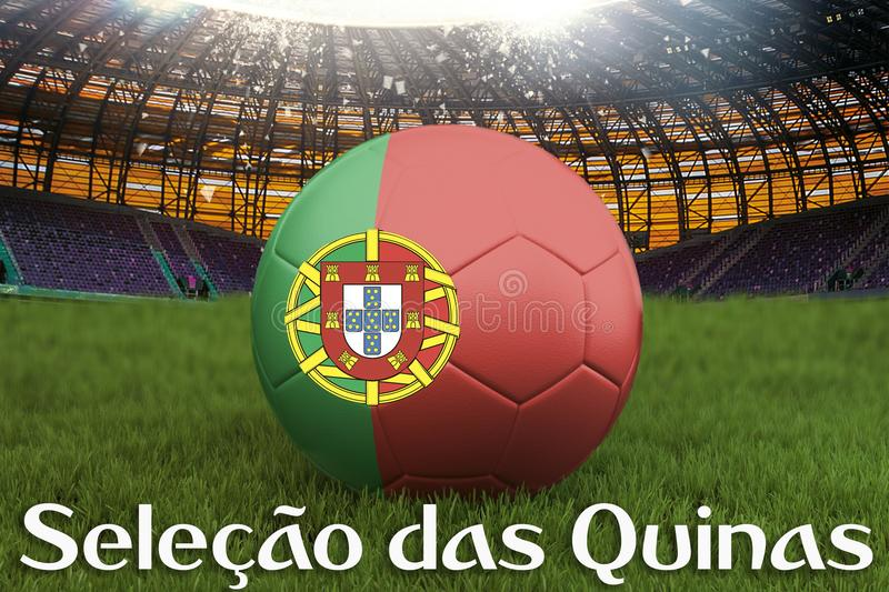 Seleção das Quinas on Portugal language on football team ball on big stadium background. 3d rendering. Portugal Team competition. Concept. Portugal flag vector illustration