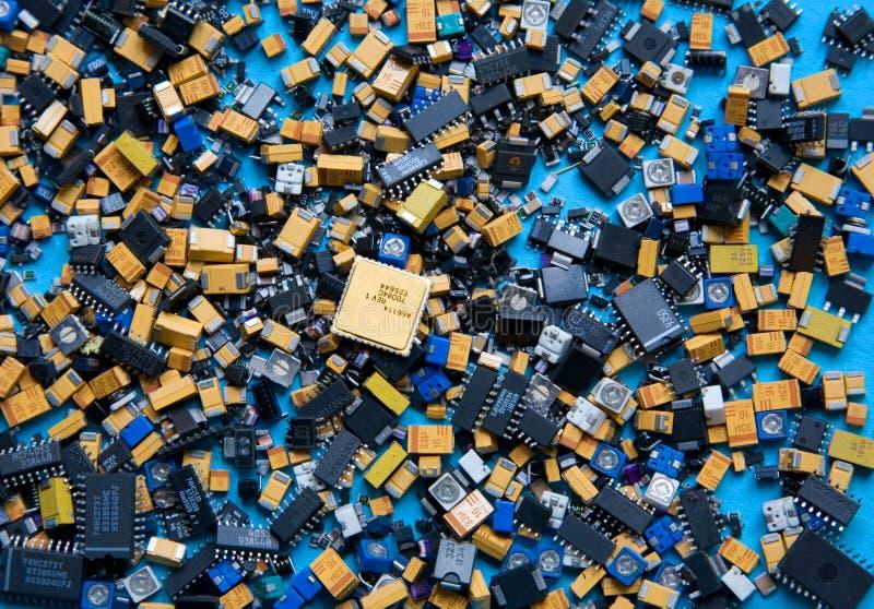 Seleção de componentes eletrônicos imagens de stock