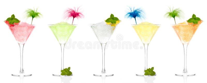 Seleção de granitas do fruto em vidros de cocktail imagens de stock royalty free