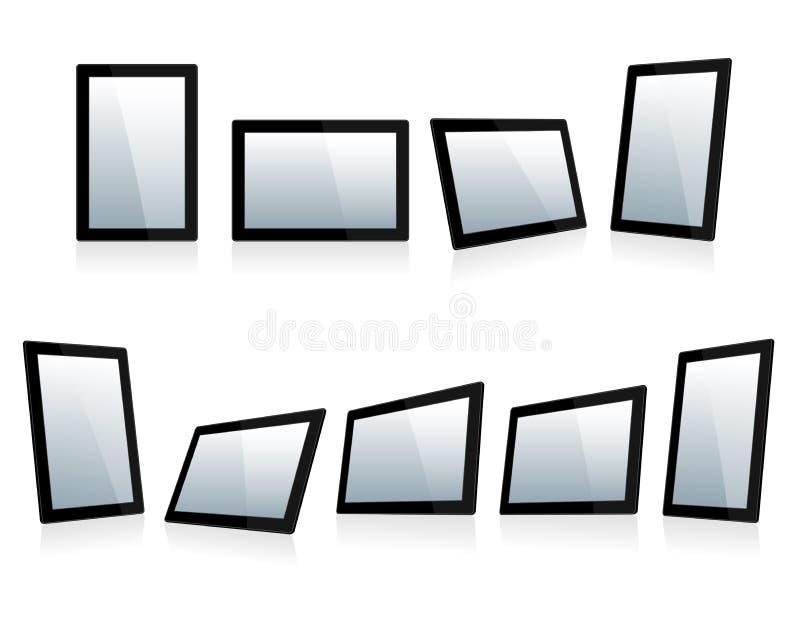 Seleção de Mini Tablets em ângulos diferentes ilustração do vetor