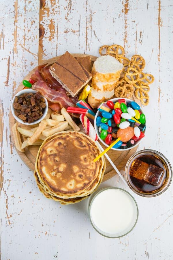 Seleção do alimento que pode causar o diabetes imagem de stock