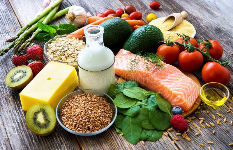 Seleção do alimento saudável imagem de stock royalty free