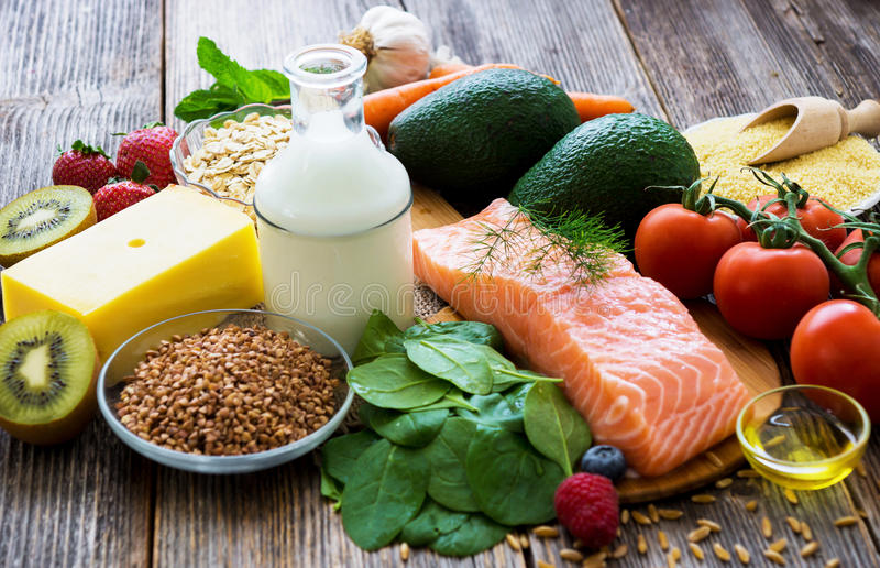 Seleção do alimento saudável foto de stock royalty free