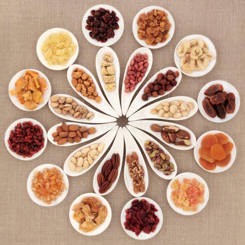 Seleção do fruto e da porca imagem de stock