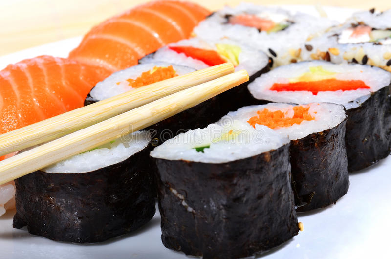Seleção do sushi fotografia de stock