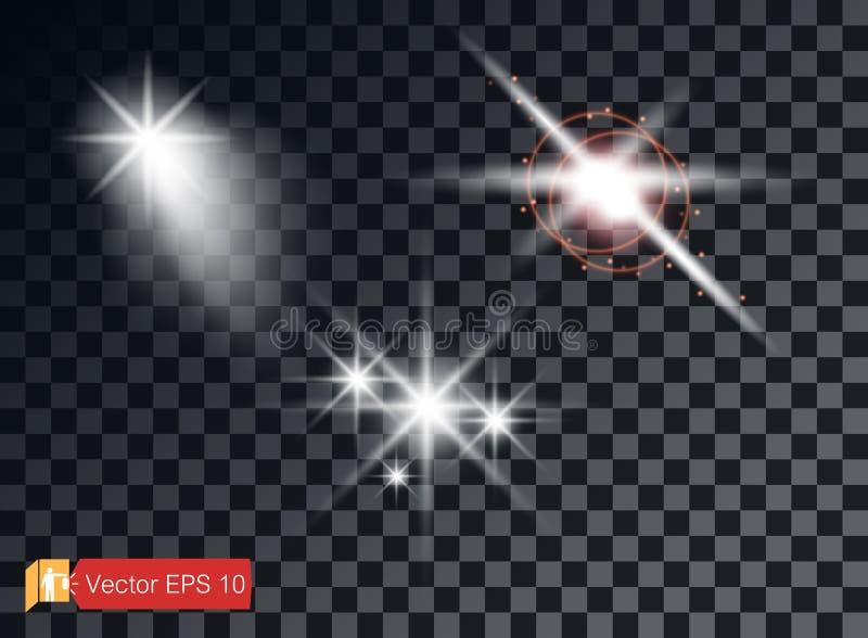 A seleção dos elementos transparentes da luz em um fundo isolado Reflexão brilhante, alargamento Estrela de brilho Vetor ilustração royalty free