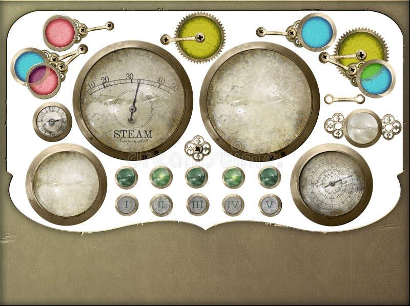 Selección aislada del panel de control de Steampunk fotos de archivo