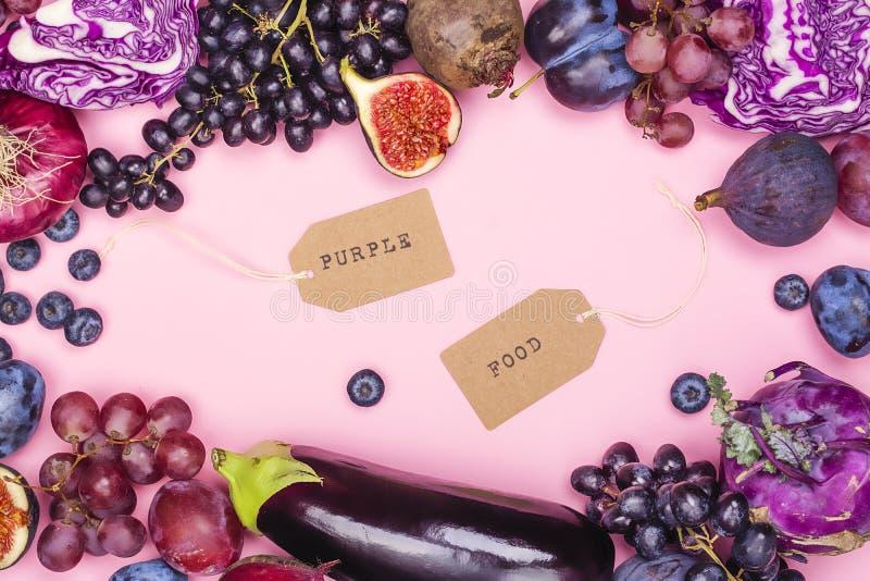 Selección de comidas púrpuras foto de archivo libre de regalías