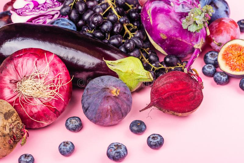 Selección de comidas púrpuras fotografía de archivo libre de regalías