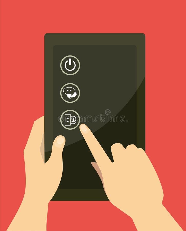 Selección de iconos en la tableta stock de ilustración