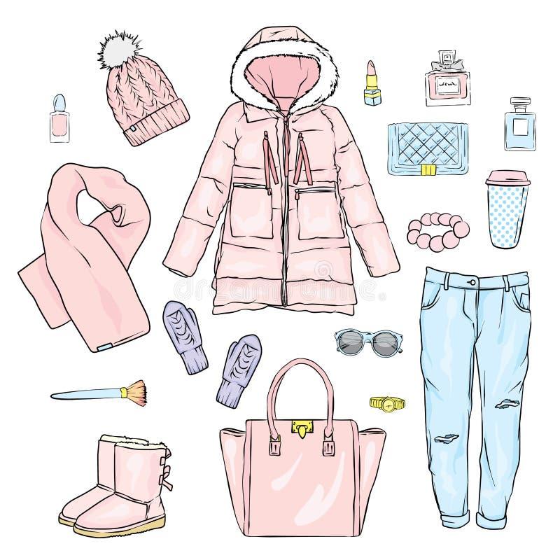 Selección de ropa del ` s de las mujeres del invierno Chaqueta, capa, zapatos, bolso, perfume, cosméticos y otros accesorios Un c ilustración del vector