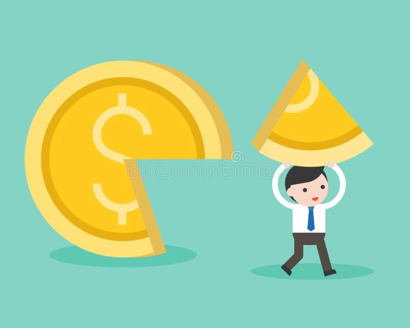 Selección del hombre de negocios a los pedazos de moneda de oro, negocio co de la cuota de mercado stock de ilustración