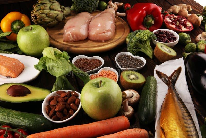 Selecci?n limpia de la consumici?n de la comida sana E imagen de archivo