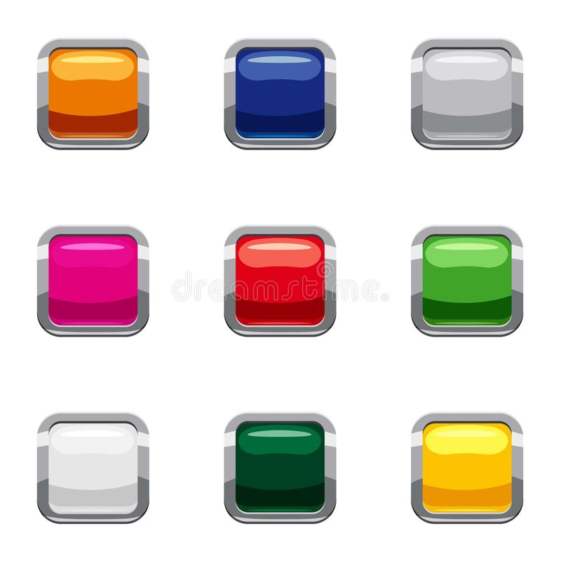 Select action with button icons set, cartoon style vector illustration