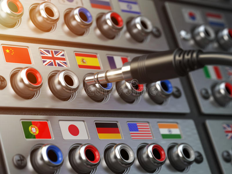 Select language. Learning, translate languages or audio guide co. Ncept. Audio input output control panel with flags and plug. 3d illustration stock photo