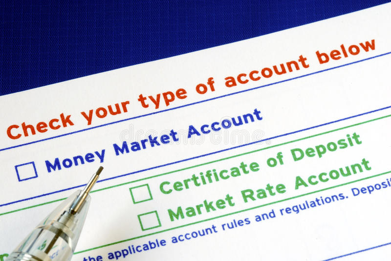 Select your bank account in the deposit slip. Pick your bank account in the deposit slip royalty free stock photo
