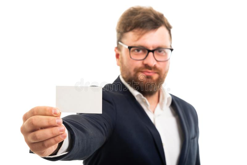 Selected focus of business man holding blank business card stock photography