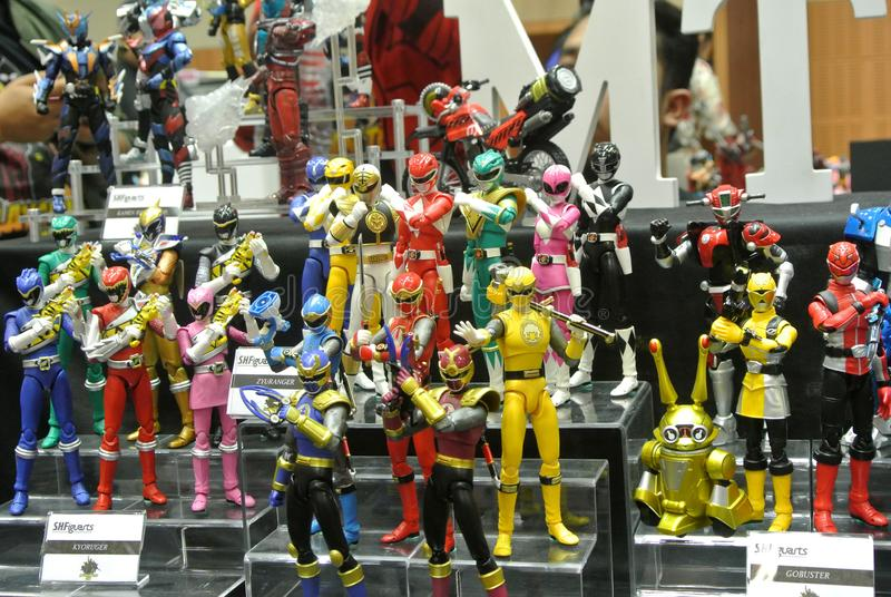 Selected focused of fictional character action figure from American kids TV series Power Rangers. KUALA LUMPUR, MALAYSIA -OCTOBER 6, 2018: Selected focused of stock photos