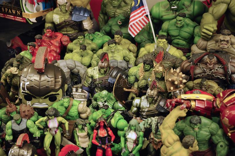 Selected focused of HULK character action figures from Marvel Comic. royalty free stock images
