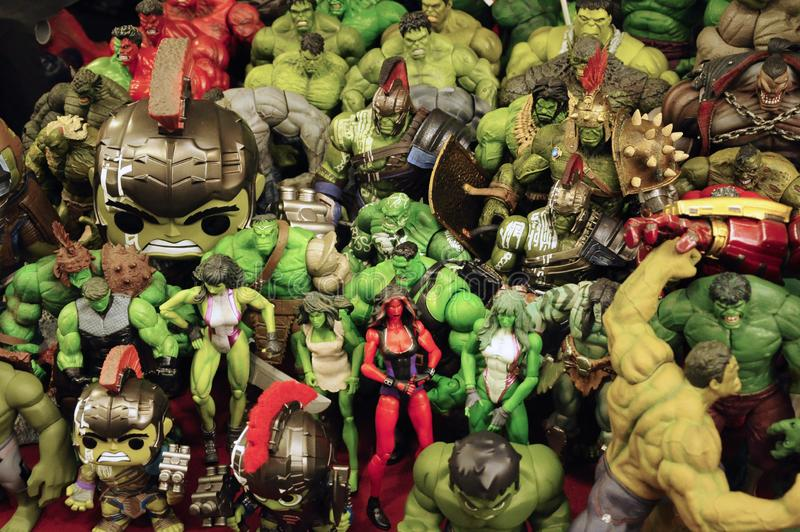 Selected focused of HULK character action figures from Marvel Comic. royalty free stock photography