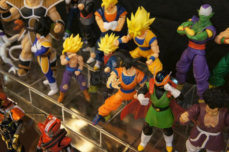 Selected focused of model scale action figures characters from popular Japanese animated series Dragonball. stock photos