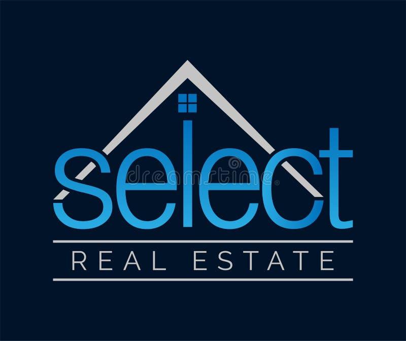 SELECTEER Mooi Klassiek Blauw Real Estate-Embleem stock afbeeldingen