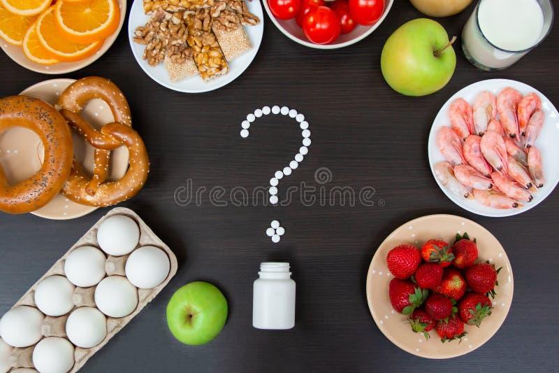 Selectie van allergievoedsel, gezond het levensconcept royalty-vrije stock afbeeldingen