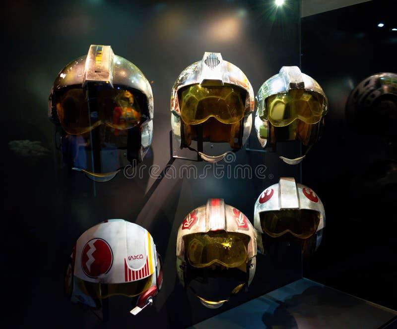 Selectie van de proefhelmen van Star Wars stock afbeelding