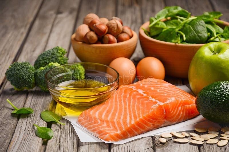 Selectie van gezonde producten Uitgebalanceerd dieetconcept royalty-vrije stock fotografie