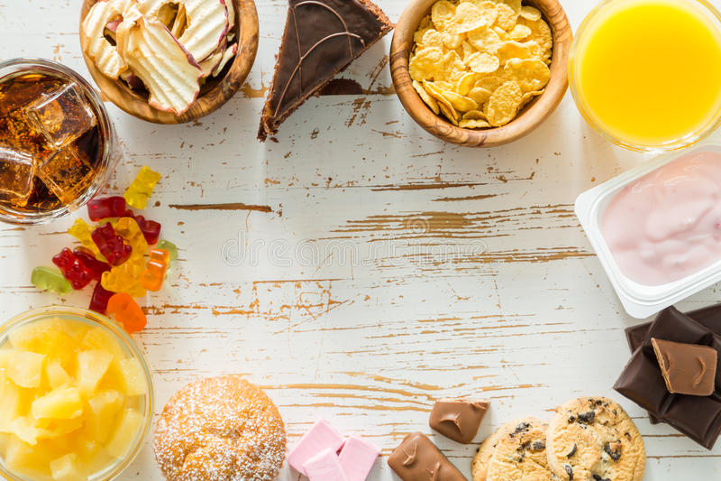 Selectie van voedsel hoog in suiker royalty-vrije stock afbeeldingen