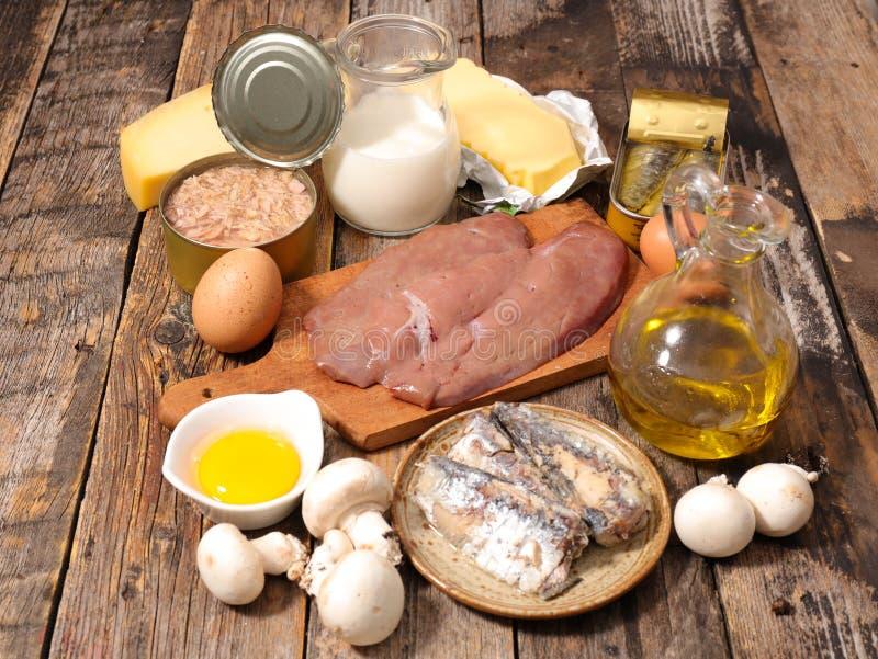 Selectie van voedsel hoog in vitamine stock afbeeldingen