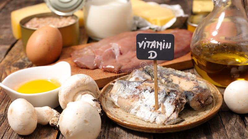 Selectie van voedsel hoog in vitamine D royalty-vrije stock foto's