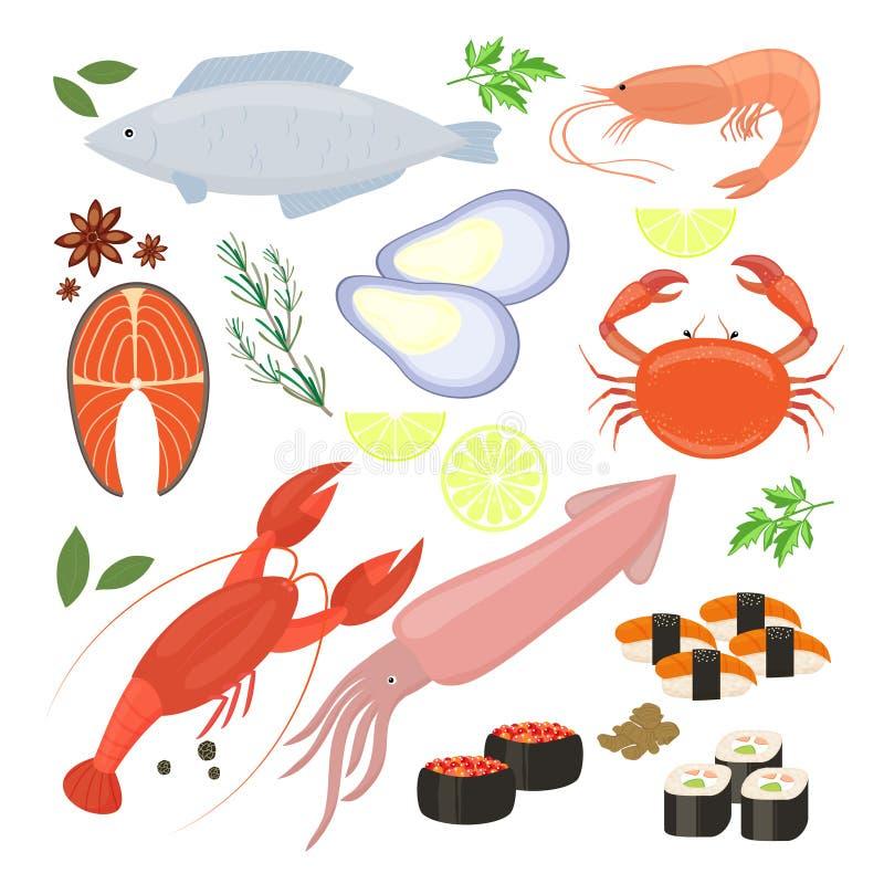 Selectie van zeevruchtengarnalen en sushipictogrammen royalty-vrije illustratie