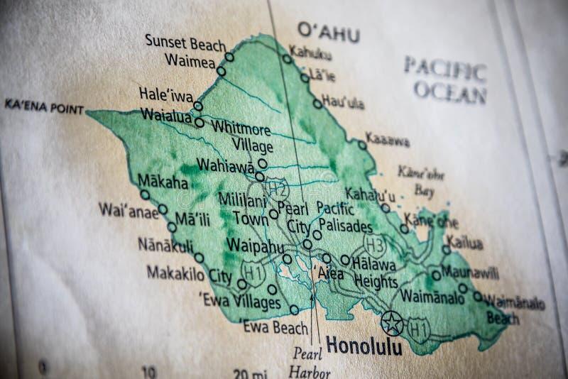 selectieve focus van de staat Hawaï op een geografische en politieke staatskaart van de VS royalty-vrije stock foto