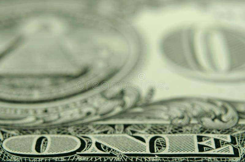 Selectieve nadruk van woord 'ÉÉN 'van een de schatkistnota van de V.S. royalty-vrije stock afbeeldingen