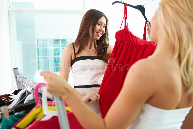 Download Selecting clothes stock image. Image of femininity, luxurious - 21667719
