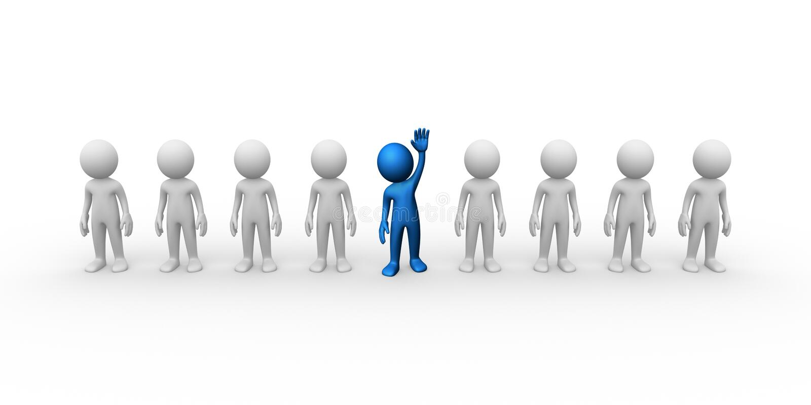 Selection. Computer generated image of man selected in a crowd vector illustration