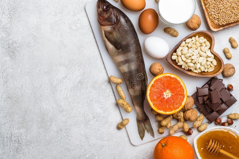 Selection of allergic food. Allergy food concept. Foods that cause allergies. Allergy food concept royalty free stock photo