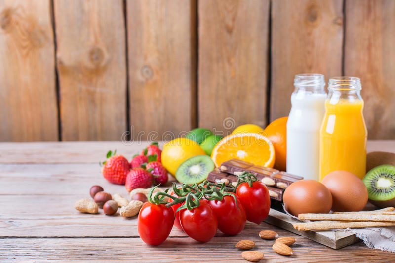 Selection of allergy food, healthy life concept royalty free stock images